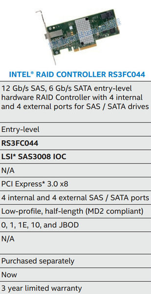 Intel RS3FC044 SFF-8643 sff8644 Minisas HD 12Gb / s interfaces array card