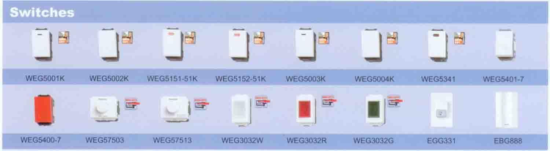 อุปกรณ์ไฟฟ้าภายในอาคาร  สวิตช์ไฟฟ้า/เต้ารับไฟฟ้า/ปลั๊กไฟฟ้า