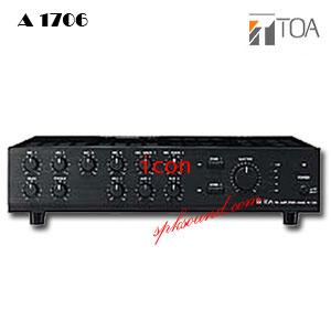 ระบบเสียงประกาศ TOA A-1706 แอมป์ขยายเสียงระบบประกาศ 2 โซน 60วัตต์