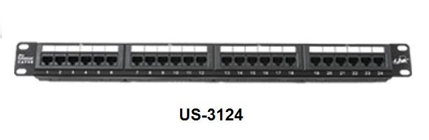 แผงกระจายสาย LINK US-3124A : CAT 6 PATCH PANEL 24 PORT(1U)w/Support (มีเหล็กจัดสายและติดป้ายชื่อได้)