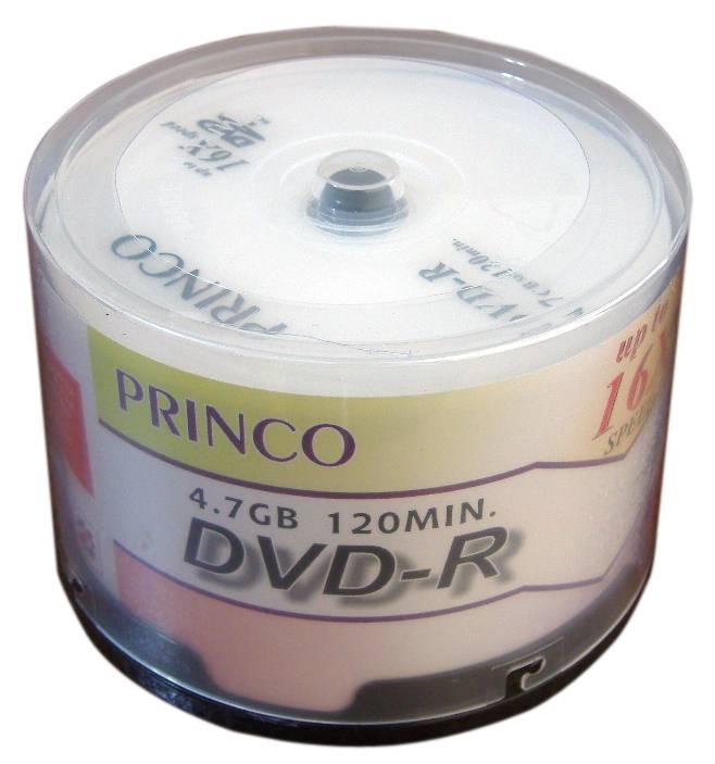 แผ่น DVD-R 16X 4.7GB Princo (หลอด 50 แผ่น)