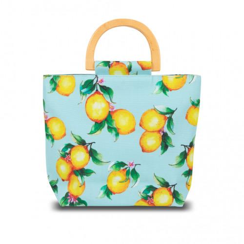 กระเป๋าถือหูไม้ ผ้าพิมพ์ลาย Lemon