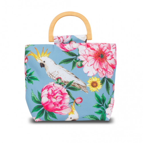 กระเป๋าถือหูไม้ ผ้าพิมพ์ลาย Cockatoo
