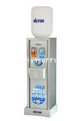 ตู้ทำน้ำเย็น-น้ำร้อน VICTOR ตั้งพื้น สแตนเลส 2ก๊อก (แบบแก้วดัน)VT-222N