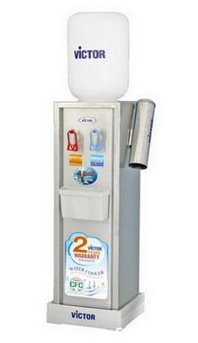 ตู้ทำน้ำเย็น-น้ำร้อน VICTOR ตั้งพื้น สแตนเลส 2ก๊อก (แบบแก้วดัน) พร้อมกระบอกVT-333N