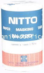 เทปนิตโต(NITTO)PAPER MASKING TAPE NO.720(18mm*18m 5 ROLLS)