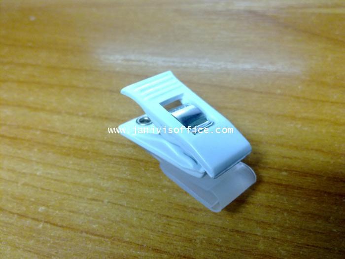 คลิ๊บติดบัตรพลาสติก สีขาว(20/ห่อ)