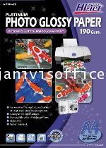กระดาษผิวมันสำหรับเครื่องพิมพ์อิงค์เจ็ท 190 แกรม NP194-20 HI-JET PLATINUM PHOTO PAPER 190 GSM.