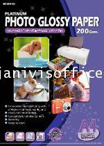 กระดาษผิวมันสำหรับเครื่องพิมพ์อิงค์เจ็ท 200 แกรม NP204-100 HI-JET PLATINUM PHOTO PAPER 200 GSM.