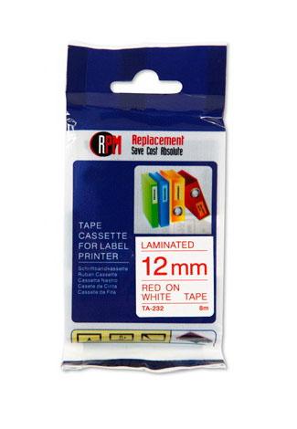 เทปพิมพ์อักษรRPM TA-232  12 มม.อักษรสีแดงพื้นขาว
