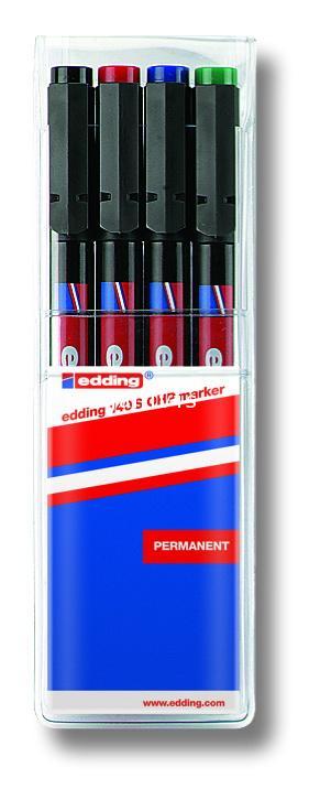 ปากกาเอนกประสงค์ ลบไม่ได้ edding 140S Permanent OHP Marker ชุด 4 ด้าม