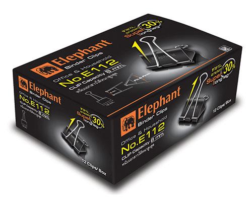 คลิปดำ ตราช้าง E112 (3/4น้ว) กล่องละ12ตัว