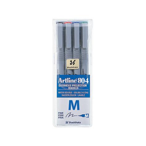 ปากกาเขียนแผ่นใสลบได้ Artline EK-804 ชุดละ4ด้าม4สี (M)
