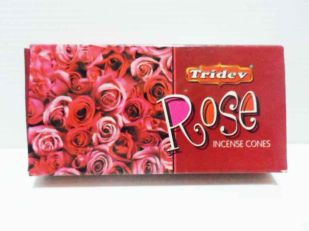 กำยาน กลิ่นกุหลาบ Tridev 20 cones 50g   Made In  India