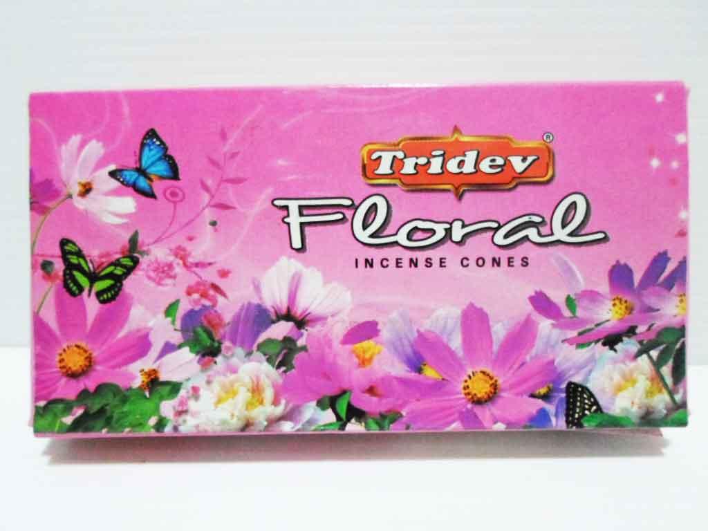 กำยานกลิ่น Floral Tridev 20 cones 50g   Made In  India