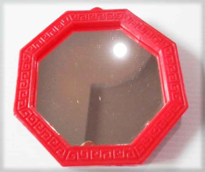 กระจกแปดเหลี่ยมเรียบขอบแดงเปล่า (ขนาด 5x5นิ้ว)