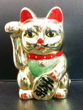 แมวกวักเซรามิค4นิ้ว (ออมสิน-แบบแขนอยู่นิ่ง)