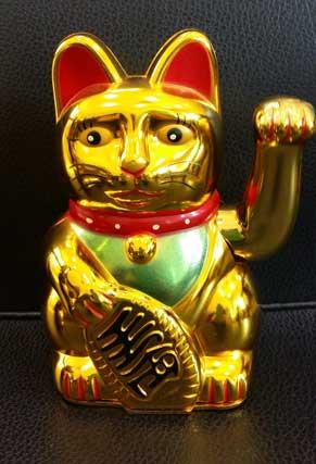 แมวกวักสีทอง 8นิ้ว (ใส่ถ่าน แกว่งแขนได้)