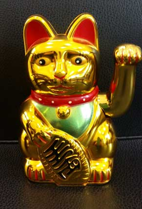 แมวกวักสีทอง 5นิ้ว (ใส่ถ่าน แกว่งแขนได้)