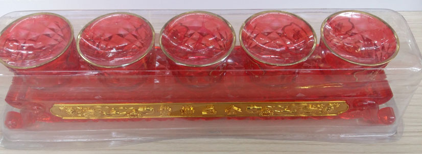 ชุดถ้วยน้ำชาคริสตัลฐานสูงไหว้เจ้า5ถ้วย(แดง)