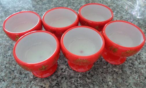 ชุดถ้วยน้ำชา 6 ใบ สีแดง ลายดอกบัว