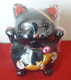 กระปุกออมสินแมวกวักกระดิ่ง เรซินสีดำ 5นิ้ว