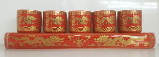 ชุดน้ำชา5ใบแดงลายมังกร(ฐาน)1400152