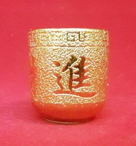 ถ้วยน้ำชาเดี่ยวอักษรจีนสีทอง(คละแบบ)1400149