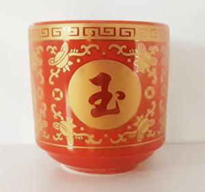 ถ้วยน้ำชาเดี่ยวอักษรีจีนสีแดง(คละแบบ)1400107