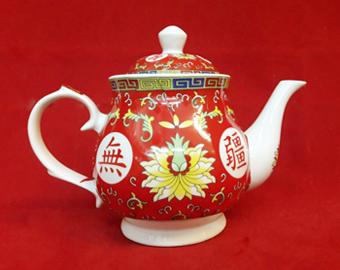 กาน้ำชาแดงลายอักษรจีน(ญ)1400161