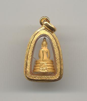 หลวงพ่อโสธรลอยองค์ เนื้อทองคำทรายนวล เลี่ยมทองคำฝังเพชรแท้ 11 เม็ด 1