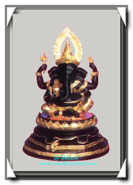 หลวงปู่หงษ์ สุสานทุ่งมน พระพิฆเนศวรบูชา 5 นิ้ว เนื้อโลหะผสมปิดทองบางส่วน
