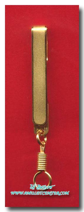 แหนบทองคำ 90% อันที่ 2 พร้อมห่วงสริงเกลียว ความยาวสุทธิ  7.0 ซม.