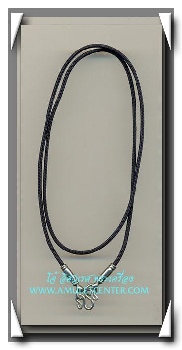 สร้อยคอเชือกร่มจิ๋ว 1 มิลสีดำ หัวสแตนเลส ตอกหมุด