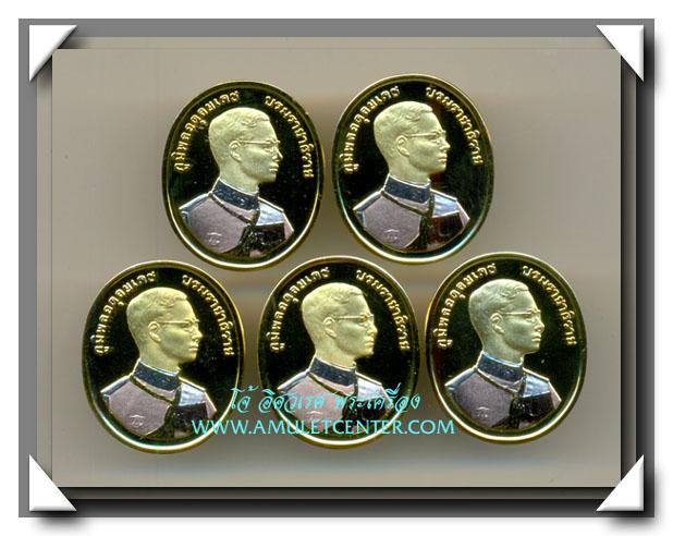 เหรียญรัชกาลที่ 9 หลังพระพุทธปัญจภาคีครบชุด 5 เหรียญ ชุบ 3 กษัตริย์ พระราชพิธีกาญจนาภิเษก พ.ศ. 2539