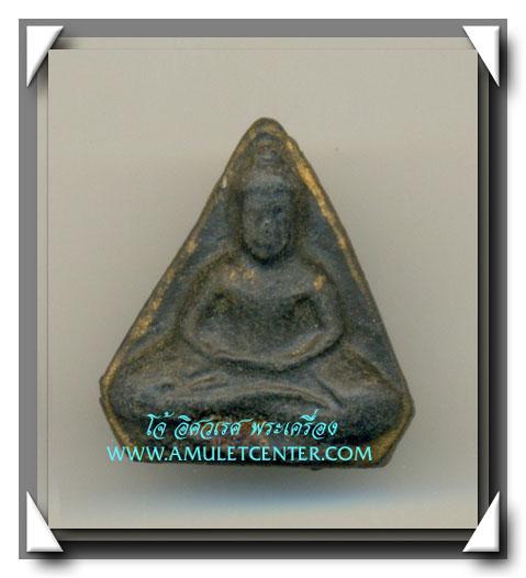 พระโพธิจักรท่านพ่อลี วัดอโศการาม พิมพ์ห้าเหลี่ยม เนื้อใบลาน หลังยันต์ดวง ขอบทอง (1)