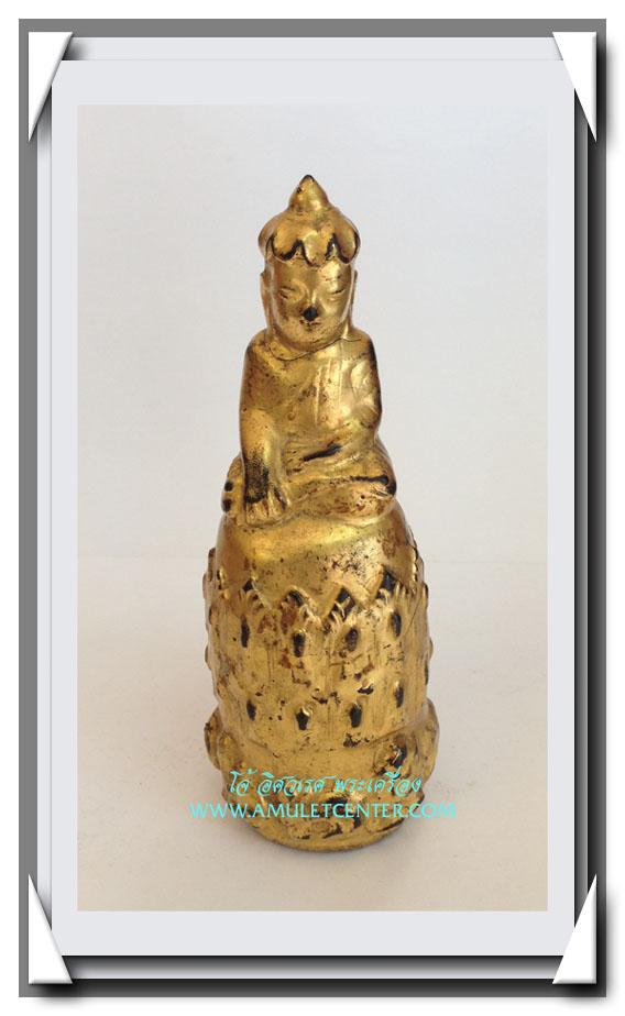 พระอุปคุต (พระบัวเข็ม) ศิลปะพม่า สูง 4.8 นิ้ว (รานคอ)