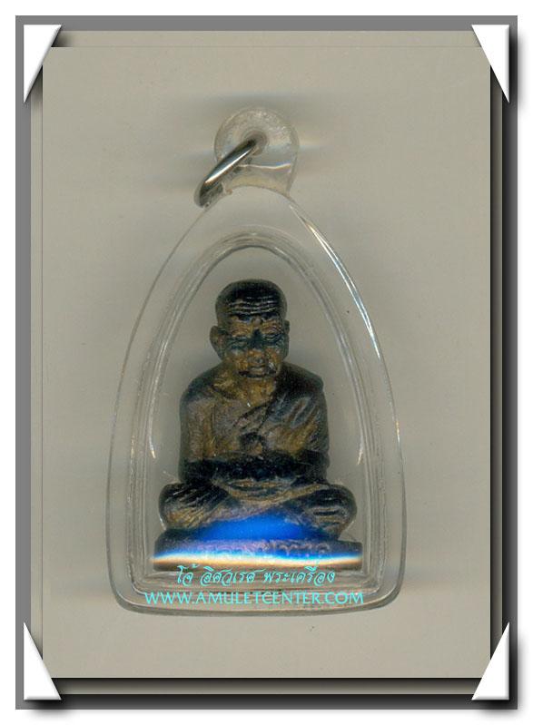 หลวงพ่อทวด ลอยองค์เสาร์ 5 เนื้อสัตตโลหะรมดำฝังแร่ สร้าง 999 องค์ พ.ศ.2553 สวยแชมป์