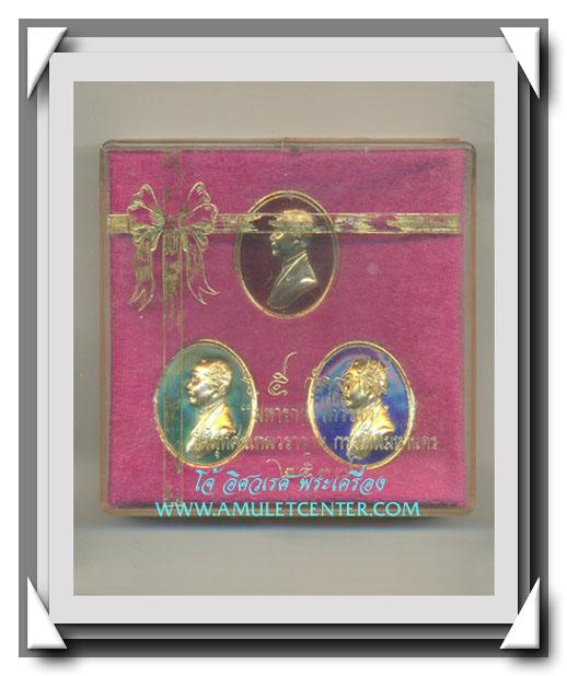 เหรียญรัชกาลที่ 5 รุ่น มหาราช เทวราช ลงยาครบชุด 3 เหรียญหลังช้าง 3 เศียร วัดสุทัศน์ พ.ศ.2537(2)