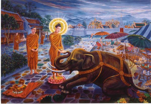 พระพุทธเจ้าและพระอานนท์ วัดพระธาตุหิริภุญชัย ลำพูน พ.ศ.2516 พิธีใหญ่