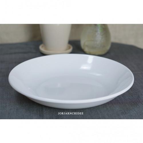 จานกลมเมลามีนสีขาว 8.5 นิ้ว