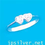 แหวนหัวใจคู่พลอยขาว