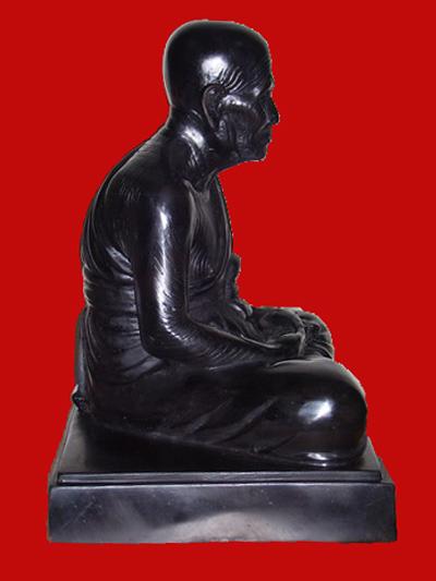 พระบูชาหลวงปู่ทวด อาจารย์ทอง วัดสำเภาเชย รุ่นพระธาตุเจดีย์ ขนาด 9 นิ้ว เนื้อโลหะรมดำ ปี 2549 1