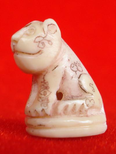 พยัคฆ์เขี้ยวแก้ว เสือแกะจากเขี้ยวแท้ หลวงปู่กาหลง วัดเขาแหลม รุ่นมหาบารมี ปี 48 สวยเข้มขลัง หายาก