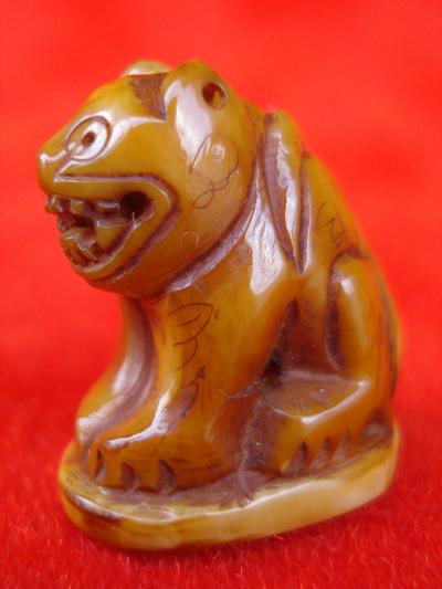เสือแกะจากเขี้ยวเสือแท้ๆ หลวงพ่อสาย วัดบางเหี้ย พิมพ์หน้าแมวหางตั้ง มีรอยจารชัด สวยหายากแล้วครับ