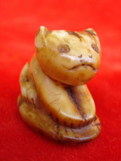 เสือแกะจากเขี้ยวเสือแท้ๆ หลวงพ่อปาน วัดบางเหี้ย พิมพ์เสือหน้าแมว มีรอยจารชัด สวยหายากแล้วครับ