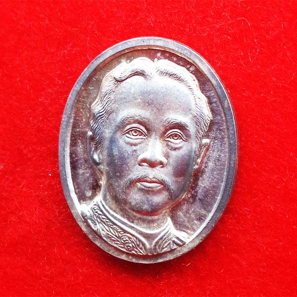 เหรียญที่ระลึก ร. 5 หลัง จปร. เนื้อเงิน วัดนิเวศธรรมประวัติ สร้างศาลากาญจนาภิเษก 23 ตุลาคม 2537