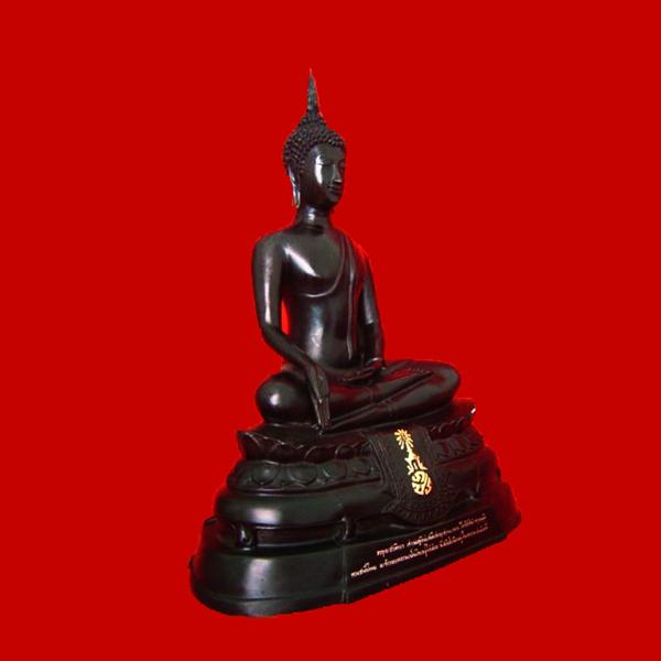 พระบูชา ภปร. ปี 2508 วัดบวรนิเวศ หน้าตัก 9 นิ้ว เนื้อทองเหลืองรมดำ รุ่นวัดทำเสริมภายหลัง 2