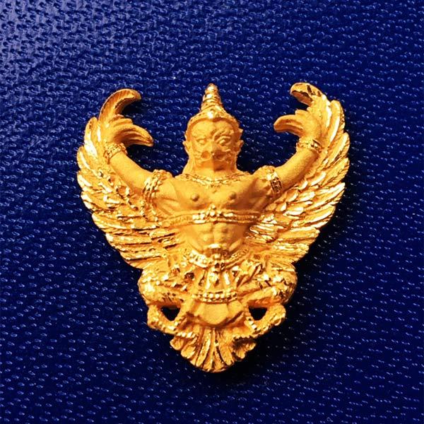 พญาครุฑ เนื้อทองคำ พิมพ์เล็ก รุ่นมหาเศรษฐี หลวงพ่อวราห์ วัดโพธิ์ทอง เจิมแป้งสีแดง และจารให้