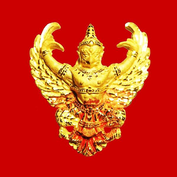 พญาครุฑ เนื้อทองคำ พิมพ์เล็ก รุ่นมหาเศรษฐี หลวงพ่อวราห์ วัดโพธิ์ทอง ท่านเจิมแป้งสีแดง และจาร ครบสูตร